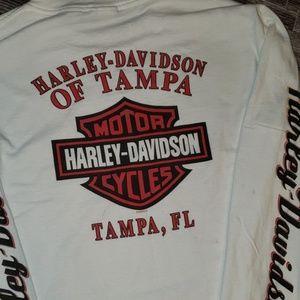 Harley-Davidson Shirts - Harley Davidson White Long Sleeve Shirt Size M